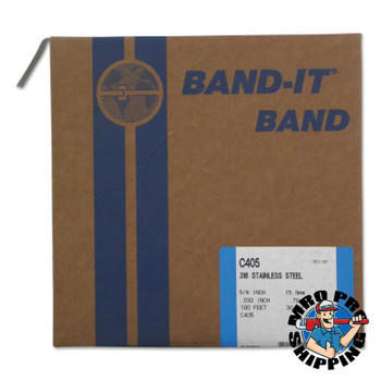 Band-It Type 316 Bands, 5/8 in x 100 ft, 0.03 in Thick, Stainless Steel (1 RL/EA)