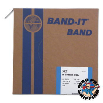 Band-It Type 316 Bands, 3/4 in x 100 ft, 0.03 in Thick, Stainless Steel (1 RL/EA)