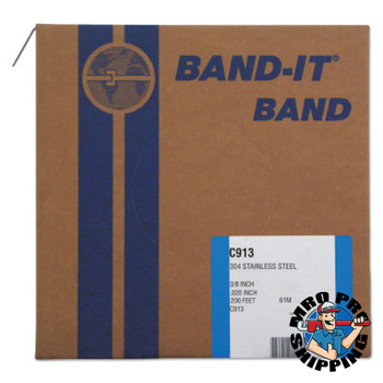 Band-It 304/Straps, 3/8 in, 200 ft, 0.02 in, Stainless Steel (1 RL/EA)