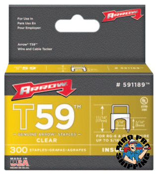 Arrow Fastener T59 Type Staples, 5/16 in L x 5/16 in W, Clear (1 BOX/EA)