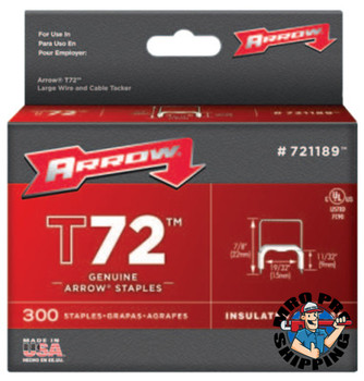Arrow Fastener T72 Type Staples, 11/32 in L x 19/32 in W, 300 per box (40 CA/EA)