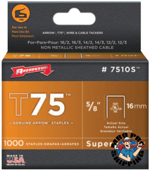 Arrow Fastener T75 Type Staples, 5/8 in L x 9/16 in W (1 PK/EA)