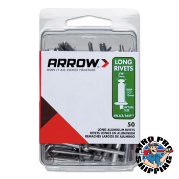 Arrow Fastener Aluminum Rivets, 1.29 x 3/16, Large Flange, Long (1 PK/EA)