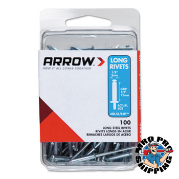 Arrow Fastener Steel Rivets, 1.29 x 1/8, Long (10 PK/EA)