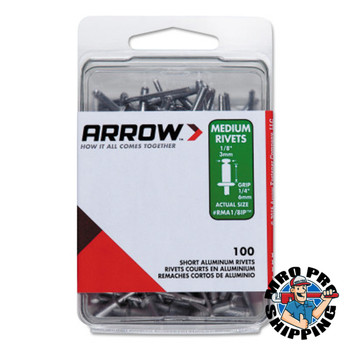 Arrow Fastener Aluminum Rivets, 1/4 x 3/16, Medium (1 PK/EA)