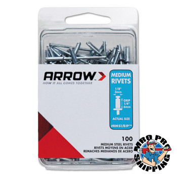 Arrow Fastener Steel Rivets, 1.29 x 1/8, Medium (1 PK/EA)
