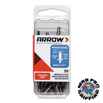 Arrow Fastener Stainless Steel Rivets, 1/4 x 1/8, Medium (1 PK/EA)