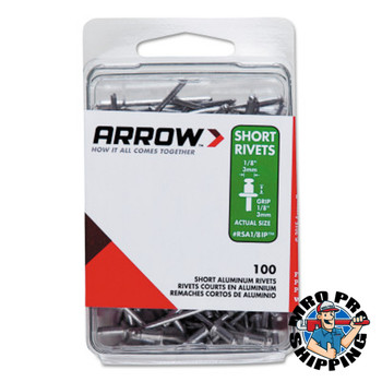 Arrow Fastener Aluminum Rivets, 1.29 x 3/16, Short (10 PK/BX)