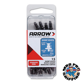 Arrow Fastener Stainless Steel Rivets, 1/8 x 5/32, Short (1 PK/EA)