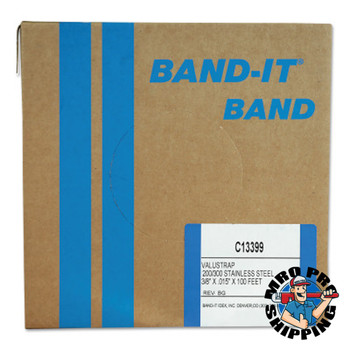 Band-It Valustrap Strappings, 3/8 in x 100 ft, 0.015 in Thick, Stainless Steel (1 ROL/EA)