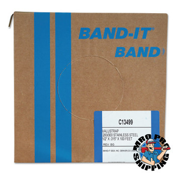Band-It Valustrap Strappings, 1/2 in x 100 ft, 0.015 in Thick, Stainless Steel (1 ROL/EA)