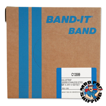 Band-It Valustrap Strappings, 5/8 in x 100 ft, 0.015 in Thick, Stainless Steel (1 ROL/EA)