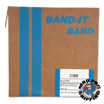 Band-It Valustrap Strappings, 3/4 in x 100 ft, 0.015 in Thick, Stainless Steel (1 ROL/EA)