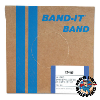 Band-It Valuband Bands, 3/4 in x 100 ft, 0.025 in Thick, Stainless Steel (1 ROL/EA)