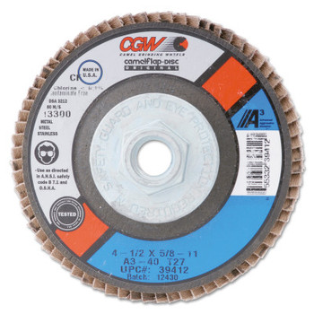 CGW Abrasives Flap Wheels, 1 in x 1 in, 40 Grit, 30,000 rpm (1 EA/EA)