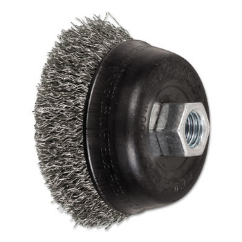 Advance Brush Mini Crimped Cup Brush, 3 1/2 in Dia., 5/8-11 Arbor, .014 Stainless Steel Wire (1 EA/EA)