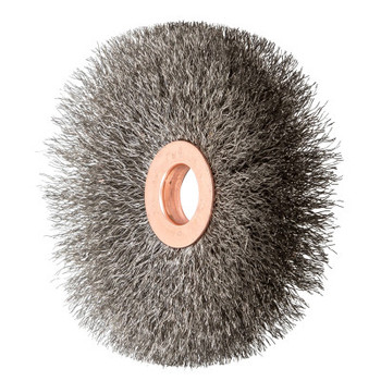"""Advance Brush Unthreaded Crimped Wheel Brushes, 3"""" Dia., 1/2"""" Arbor, .006 in, Stainless Steel (10 EA/EA)"""