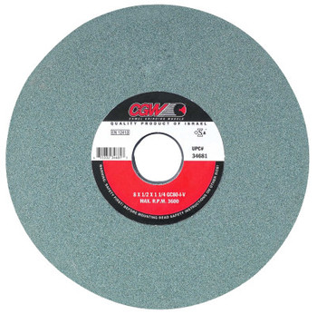 "CGW Abrasives Green Silicon Carbide Surface Grinding Wheels, T1, 8 X 1/4, 1 1/4"" Arbor, 80, I (1 EA/EA)"