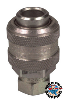 Alemite Coupler To Thread Air Line Adapters, Straight, 1/4 in (NPTF), Female/Female, (1 EA/EA)