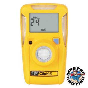 Honeywell BW BW Clip Single-Gas Detector, Hydrogen Sulfide, Surecell, 10-15 ppm Alarm Setting (1 EA)