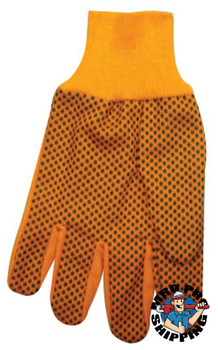Anchor Products 1000 Series Dotted Canvas Gloves, Cotton Canvas, Men's, Hi-Vis Orange (300 CA/PK)