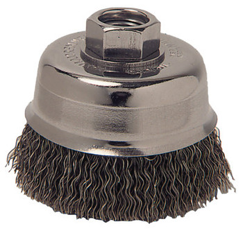 Anchor Products Crimped Wire Cup Brush, 3 1/2 in Dia., 5/8-11 Arbor, 0.0145 in Carbon Steel (1 EA/BG)