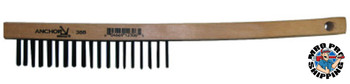 Anchor Products Hand Scratch Brushes, 3 X 19 Rows, Carbon Steel Bristles, Curved Wood Handle (1 EA/EA)