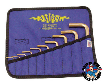 Ampco Safety Tools 10 Piece Allen Key Sets, 10 per pouch, Hex Tip, Inch (1 KIT/EA)