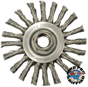 Anderson Brush Narrow Face Cable Twist Wheel-TC Series, 4 D x 3/8 W, .02 Carbon, 20,000 rpm (5 EA/EA)