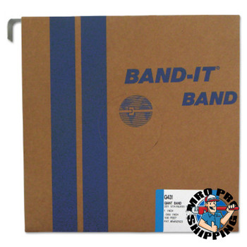 Band-It Giant Bands, 1 in x 100 ft, 0.044 in Thick, Stainless Steel (1 ROL/SET)