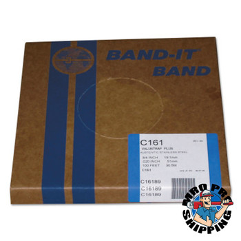 Band-It Valustrap Plus Strappings, 3/4 in x 100 ft, 0.02 in Thick, Stainless Steel (1 ROL/KT)