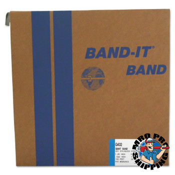 Band-It Giant Bands, 1 1/4 in x 100 ft, 0.044 in Thick, Stainless Steel (1 ROL/EA)