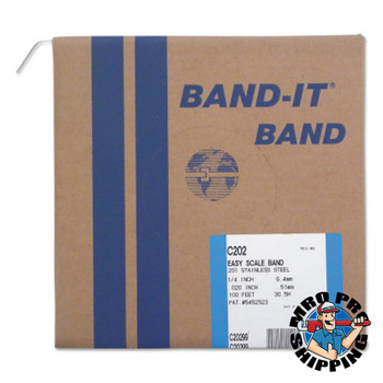 Band-It Stainless Steel Bands, 1/4 in x 100 ft, 0.02 in Thick, Stainless Steel (1 RL/BDL)