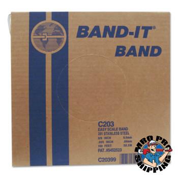 Band-It Stainless Steel Bands, 3/8 in x 100 ft, 0.025 in Thick, Stainless Steel (1 RL/BDL)