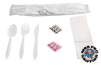 Boardwalk Wrapped Cutlery Kits, Fork, Knife, Spoon, Napkin, Salt & Pepper Packets (250 CA/EA)