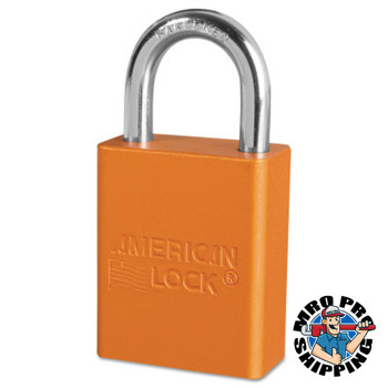 American Lock Solid Aluminum Padlocks, 1/4 in Diam., 1 in L X 3/4 in W, Orange (6 EA/EA)