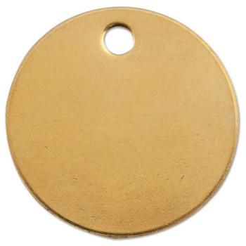 C.H. Hanson Brass Tags, 18 gauge, 1 in Diameter, 3/16 in Hole, Round (100 EA/EA)