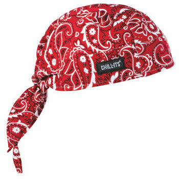 Ergodyne Chill-Its 6615 High-Performance Dew Rags, 6 in X 20 in, Red Western (6 EA/EA)