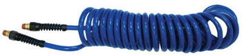 Coilhose Pneumatics Flexcoil Polyurethane Air Hoses, 3/8 in OD, 1/4 in ID, 50 ft, Strain Relief Ftg. (1 EA/EA)