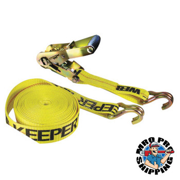 Keeper Ratchet Tie-Down Straps, Double-J Hooks, 2 in W, 27 ft L, 10,000 lb Capacity (1 EA)