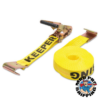 Keeper Ratchet Tie-Down Straps, Flat Hooks, 2 in W, 27 ft L, 10,000 lb Capacity (1 EA)