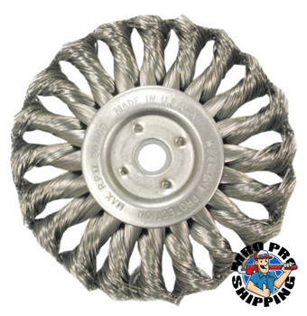 Anderson Brush Med. Twist Knot Wire Wheel-TS/TSX Series, 6 D x 1/2 W, .016 Stainless 9,000 rpm (1 EA/EA)