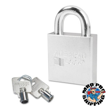 "American Lock Steel Padlocks (Square Body/Tubular Cylinder), 7/16"" Dia, 1 1/8""L, Keyed Diffrnt (6 EA/EA)"