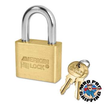 American Lock Solid Brass Padlocks, 5/16 in Length, 3/4 in, Yellow, Key D248 (6 BOX/EA)