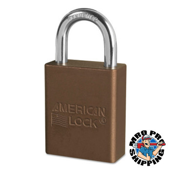 American Lock Solid Aluminum Padlocks, 1/4 in Diam., 1 in L X 3/4 in W, Brown (6 EA/EA)