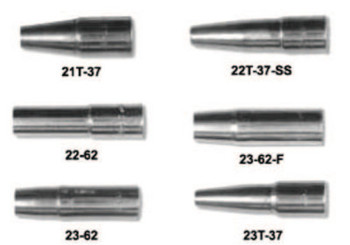 """Esab Welding 21 Series Nozzles, Tapered, Self-Insulated, 1/8"""" Tip Flush, 3/8"""", For No. 1 Gun (1 EA/EA)"""
