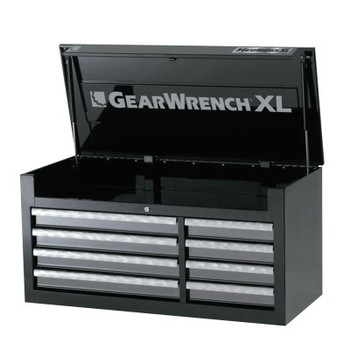 Apex Tool Group XL Series Chests, 42 in x 18 1/4 in x 20 1/2 in, 7,814 cu in, Black/Silver (1 EA/EA)