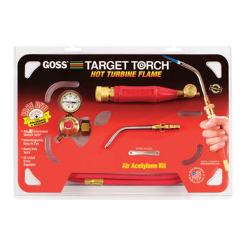 Goss Target Torch Air-Acetylene Outfits, 3/8 in, B Cyl Reg Fitting (1 KIT/EA)