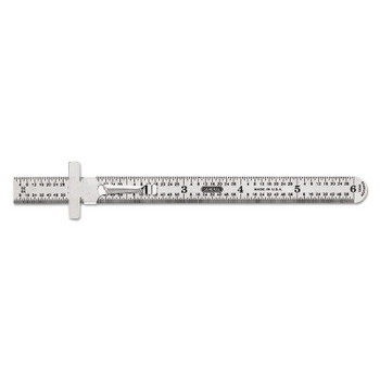 """General Tools Economy Precision Stainless Steel Rules, 6"""" X 15/32"""", Steel, Inch, Decimal Equiv (1 EA/EA)"""