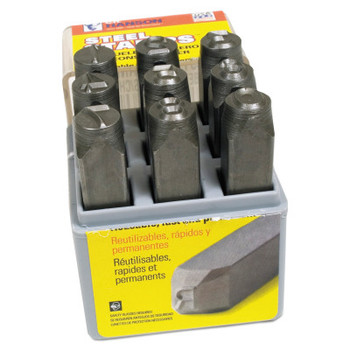C.H. Hanson Low Stress Full Character Steel Hand Stamp Sets, 3/8 in, 0 thru 8 (1 SET/EA)